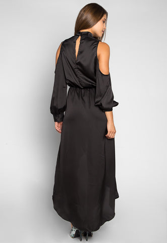 Always & Forever Satin Maxi Dress in Black
