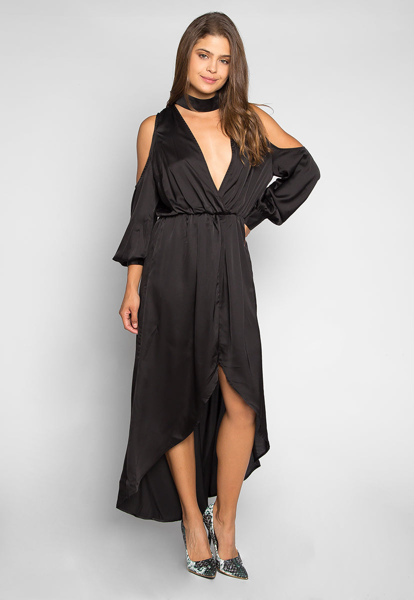 Always & Forever Satin Maxi Dress in Black - Dresses - Wetseal
