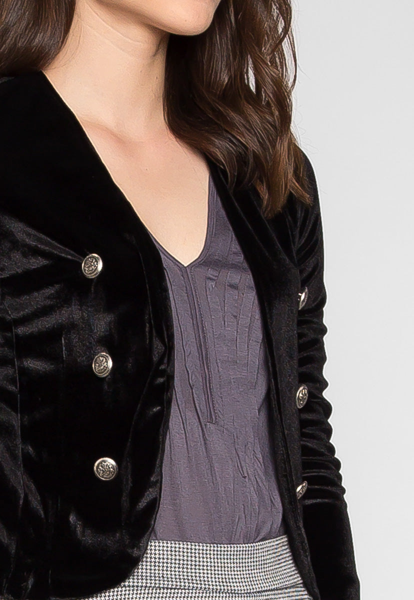 Magic Show Button Velvet Jacket in Black - Jackets & Coats - Wetseal
