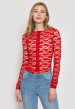 Davenport Lace Bodysuit in Red