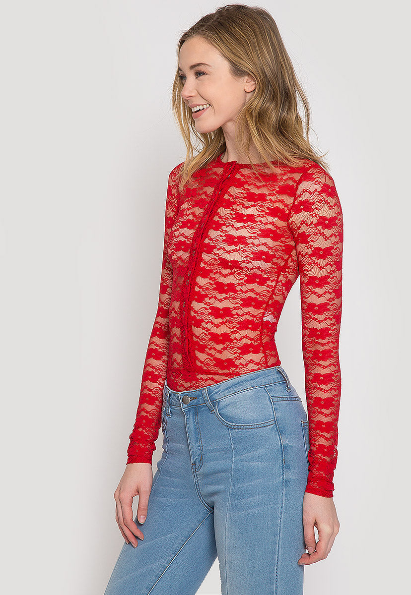 Davenport Lace Bodysuit in Red - Bodysuits - Wetseal