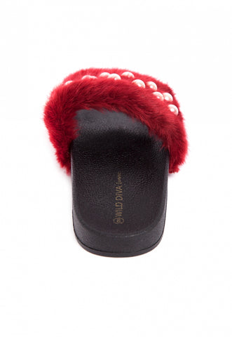 Nights Faux Fur Pearl Sliders in Burgundy