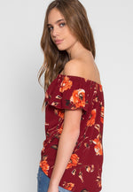 Rae Floral Off Shoulder Top in Burgundy