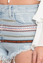 Boho Trim Denim Shorts