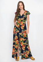 Lovebug Tropic Floral Maxi Dress in Navy