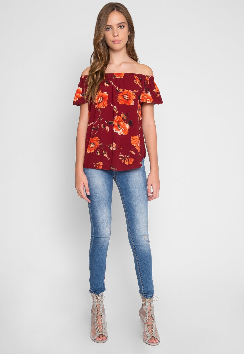 f4c082cc168 Rae Floral Off Shoulder Top in Burgundy