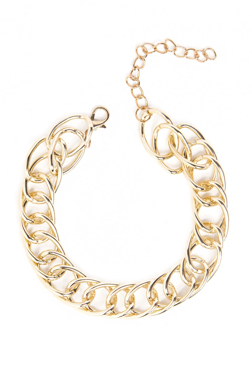 Chain Bracelet and Earrings Set in Gold - Jewelry - Wetseal