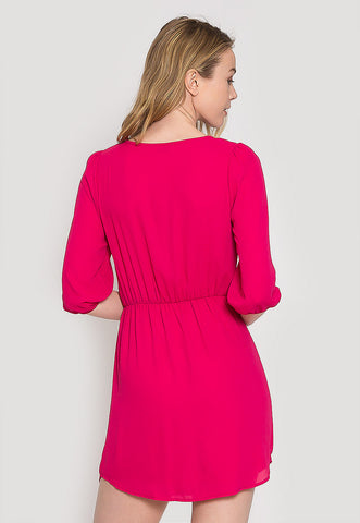 Perkins Mini Dress in Fuchsia