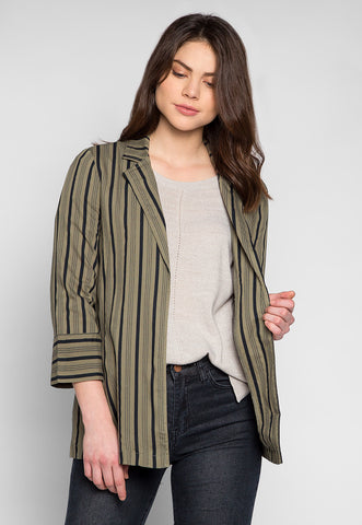 Stripe Away Notch Lapel Blazer in Green