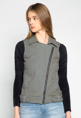 Strangers Asymmetrical Zip Striped Vest