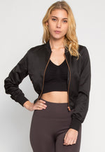 Luxe Satin Cropped Bomber Jacket in Black