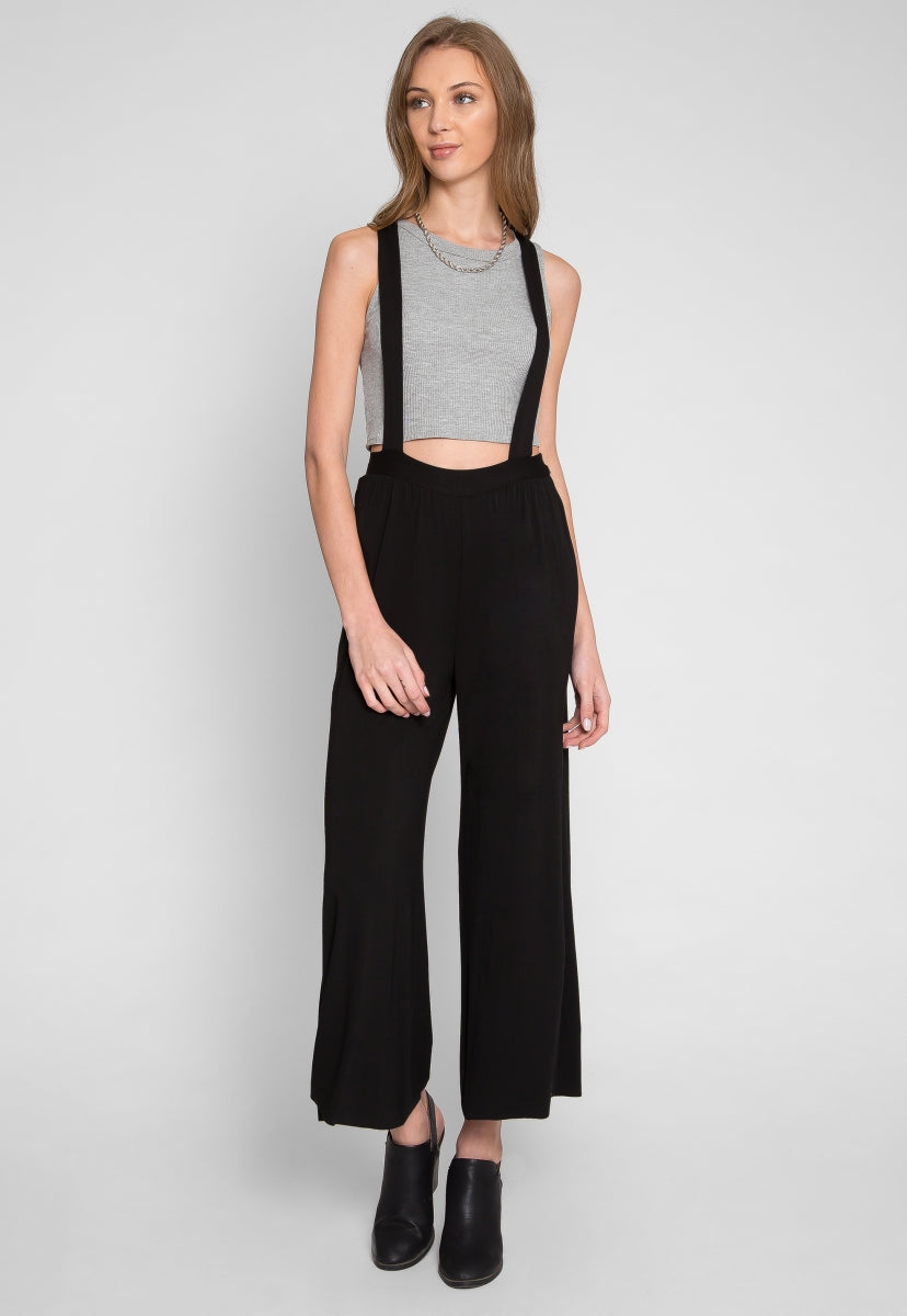 48a3dafb9c Wide leg suspender pants in black | Wet Seal