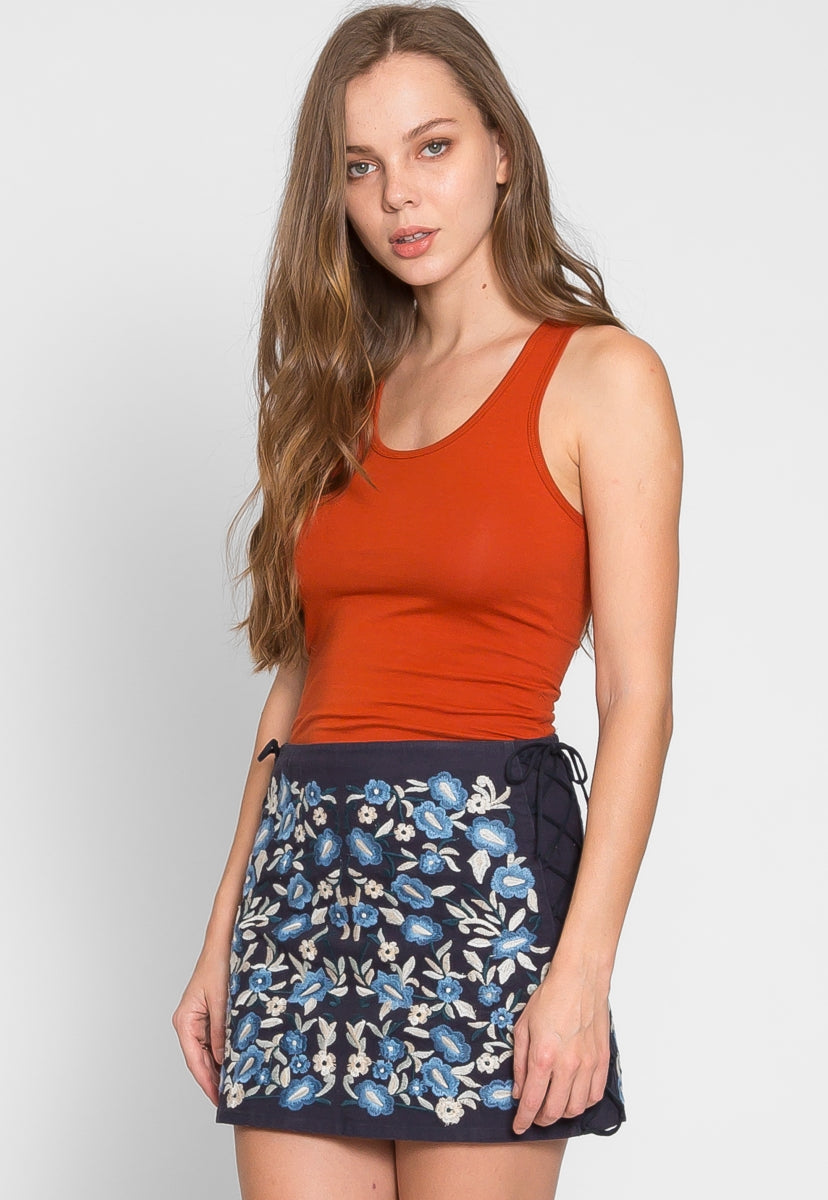Folk Floral Embroidered Mini Skirt - Skirts - Wetseal