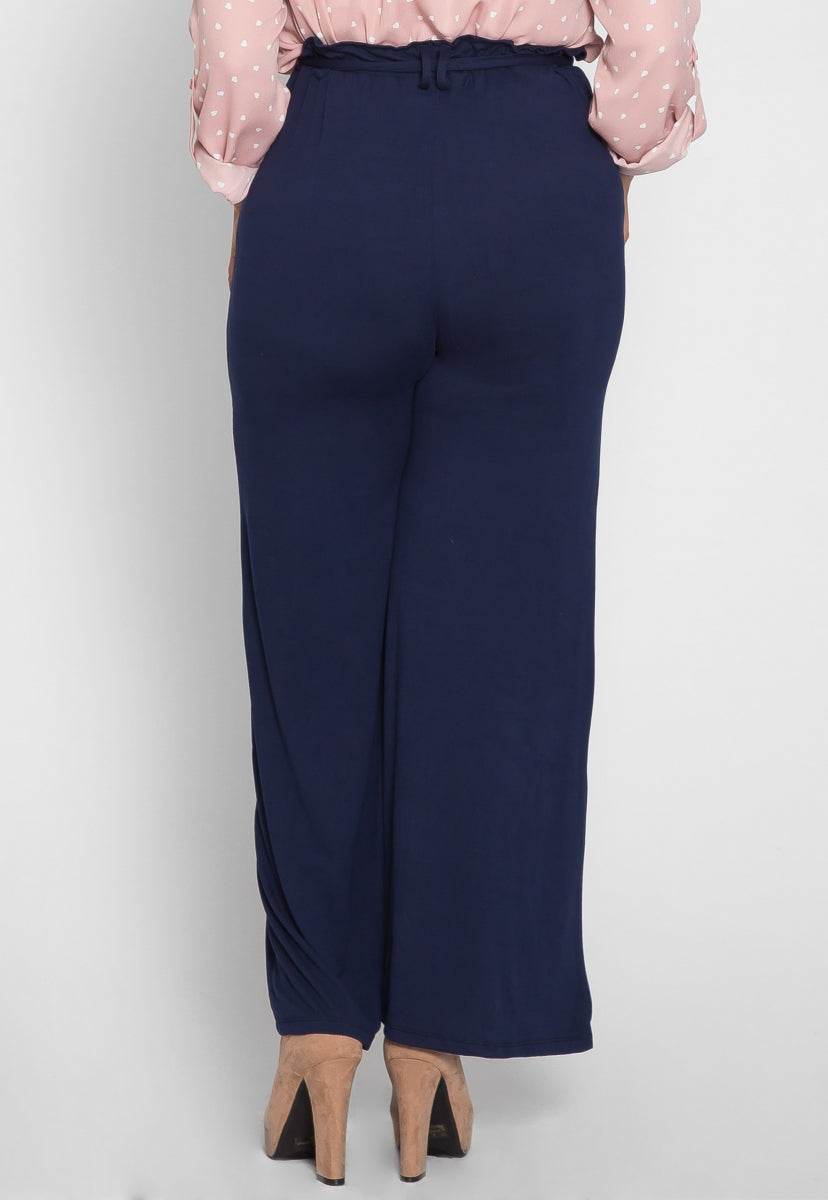 Plus Size Game On Knit Pants in Navy - Plus Bottoms - Wetseal