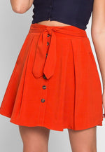 Tea Cup Button Front Skirt in Orange