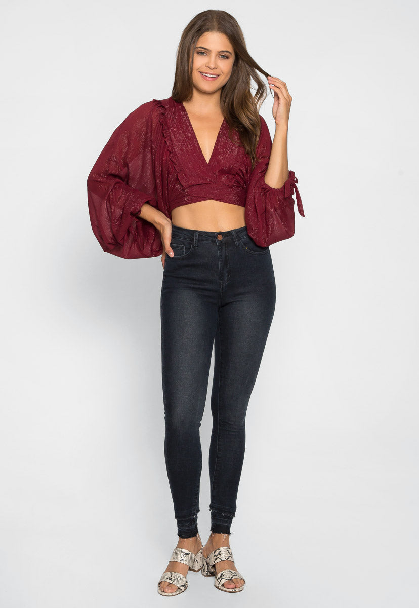 Glitz Cropped Top In Wine - Shirts & Blouses - Wetseal