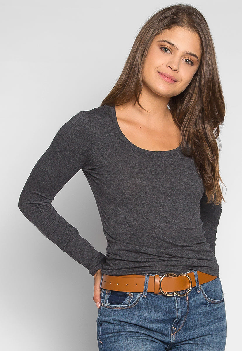 Daydream Long Sleeve Tee in Charcoal - T-shirts - Wetseal