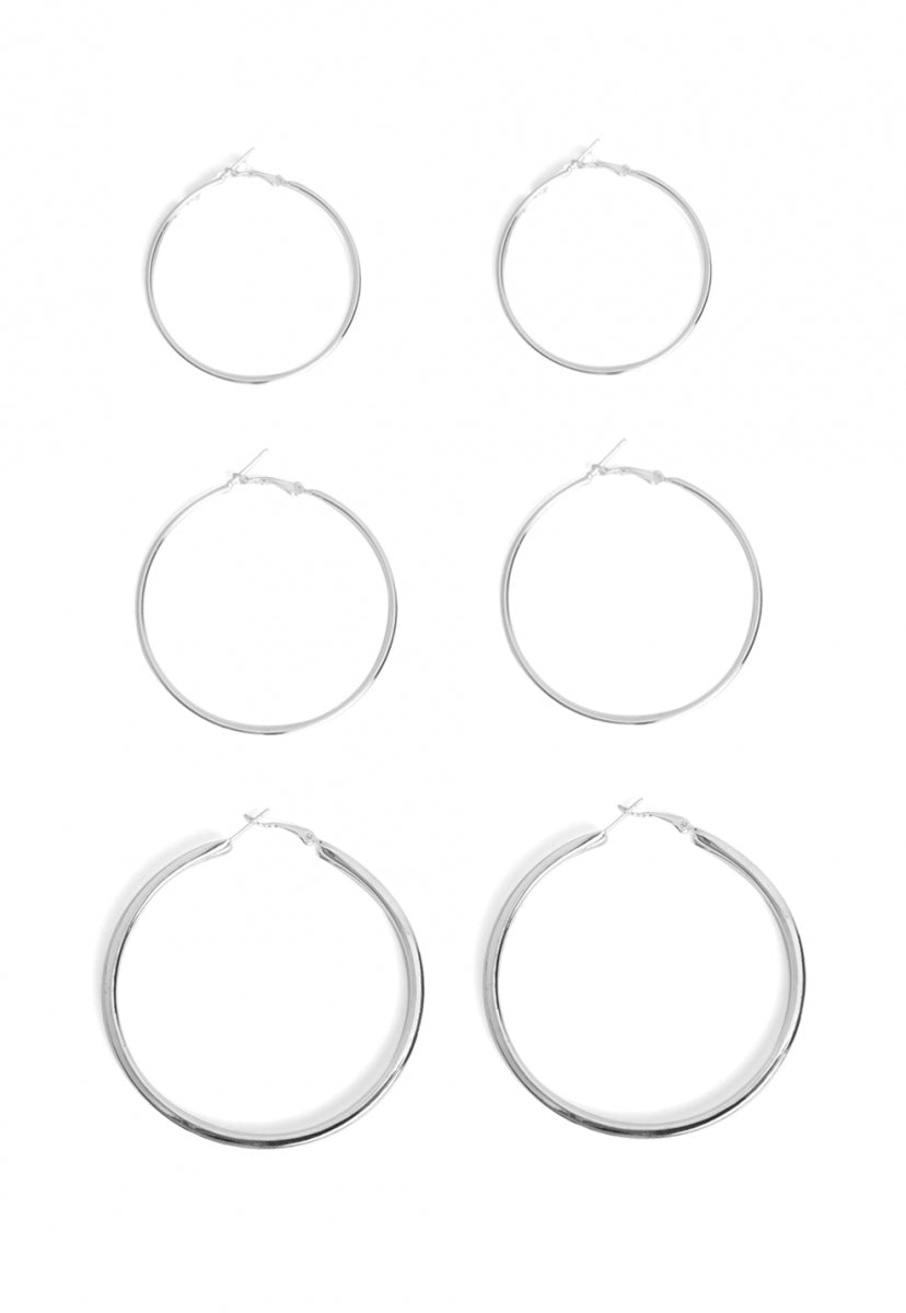 Lucy Multi Hoop Earring Set in Silver - Jewelry - Wetseal