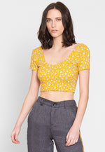 Rebel Floral Crop Top in Yellow