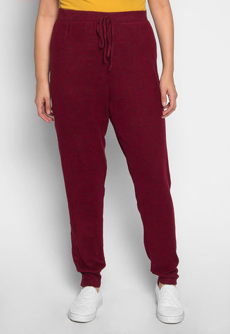 Plus Size Confetti Ribbed Side Joggers in Burgundy