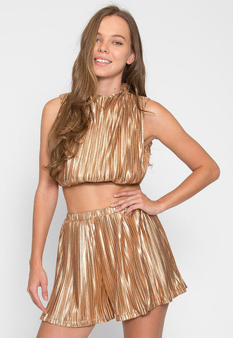 Gold Touch Crop Top Skirt Set