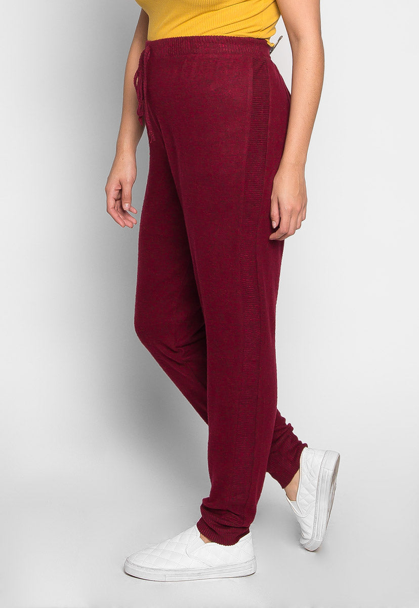 Plus Size Confetti Ribbed Side Joggers in Burgundy - Plus Bottoms - Wetseal