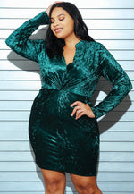 Plus Size Wild Velvet Party Dress in Green