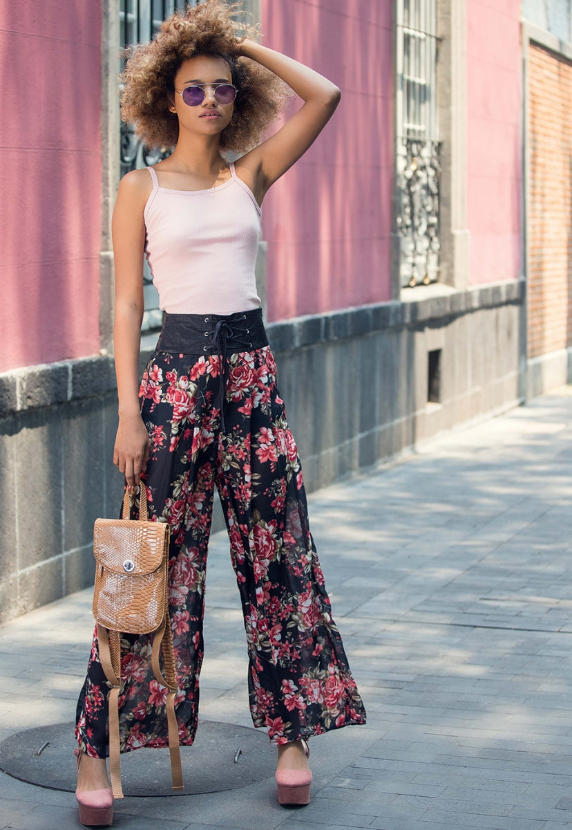 Samba Semi Sheer Flower Pants - Pants - Wetseal