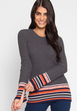 League Stripe Hem Knit Top