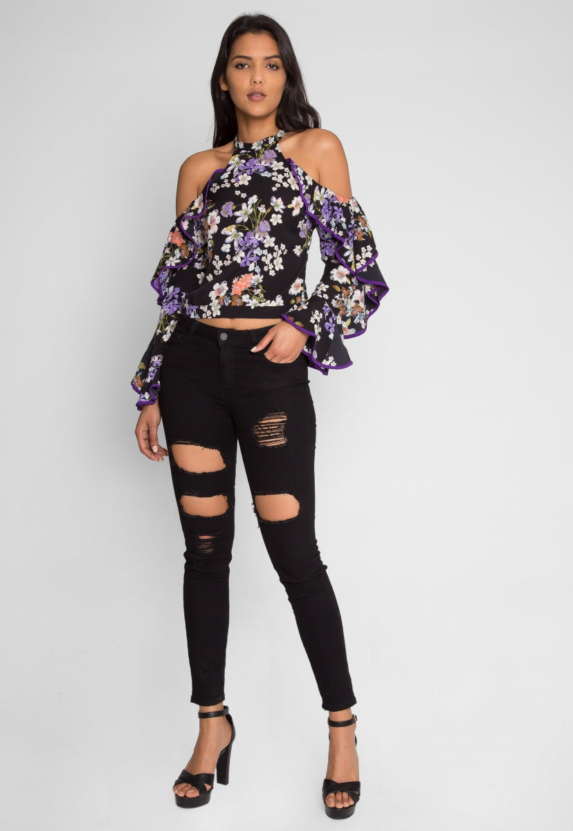 Weiss Floral Cold Shoulder Top - Shirts & Blouses - Wetseal