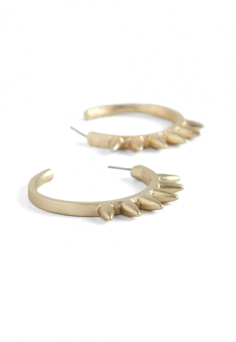 Brooklyn Spike Hoop Earrings - Jewelry - Wetseal