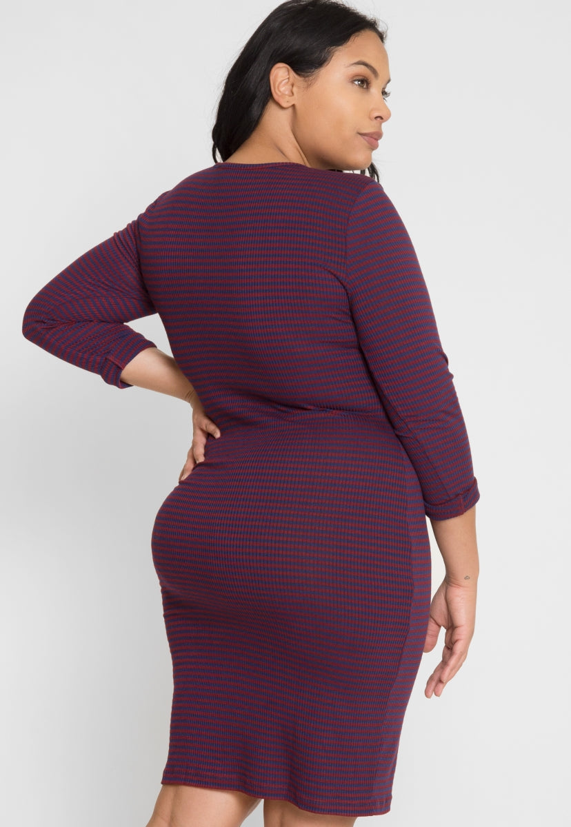 Plus Size Stripe Zipper Front Dress in Navy - Plus Dresses - Wetseal