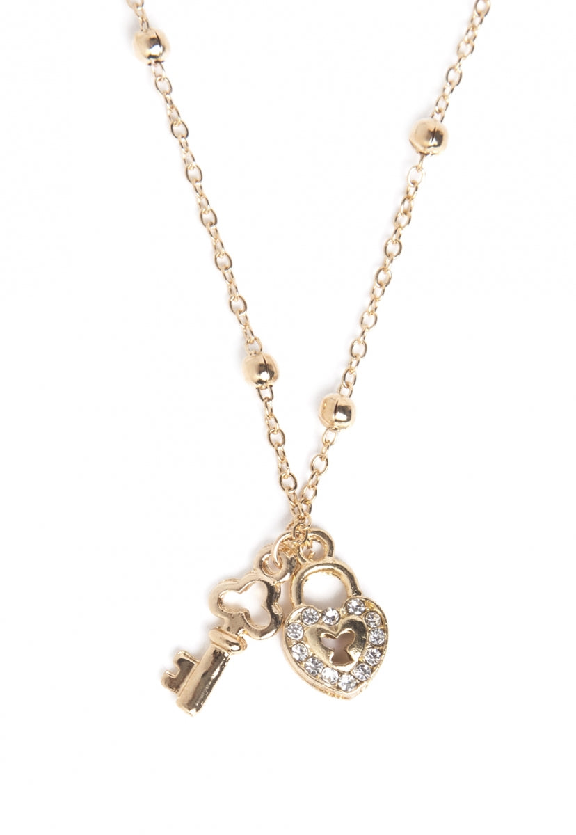 Heart Lock And Key Charm Necklace in Gold - Jewelry - Wetseal