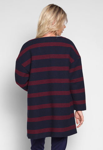 Cold Night Stripe Textured Coat