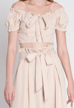 Wicked Wide Leg Pant Two Piece Set in Beige