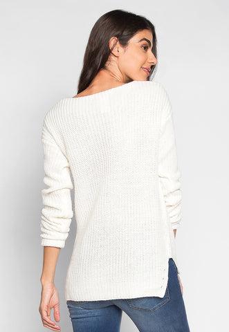 Loving It V Neck Pullover Sweater in White