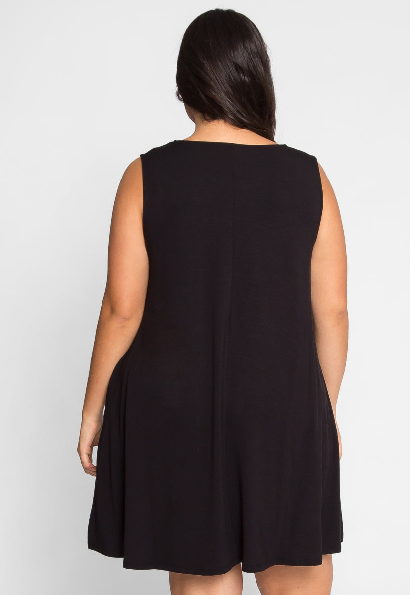 Plus Size Tunic Dress in Black - Plus Dresses - Wetseal