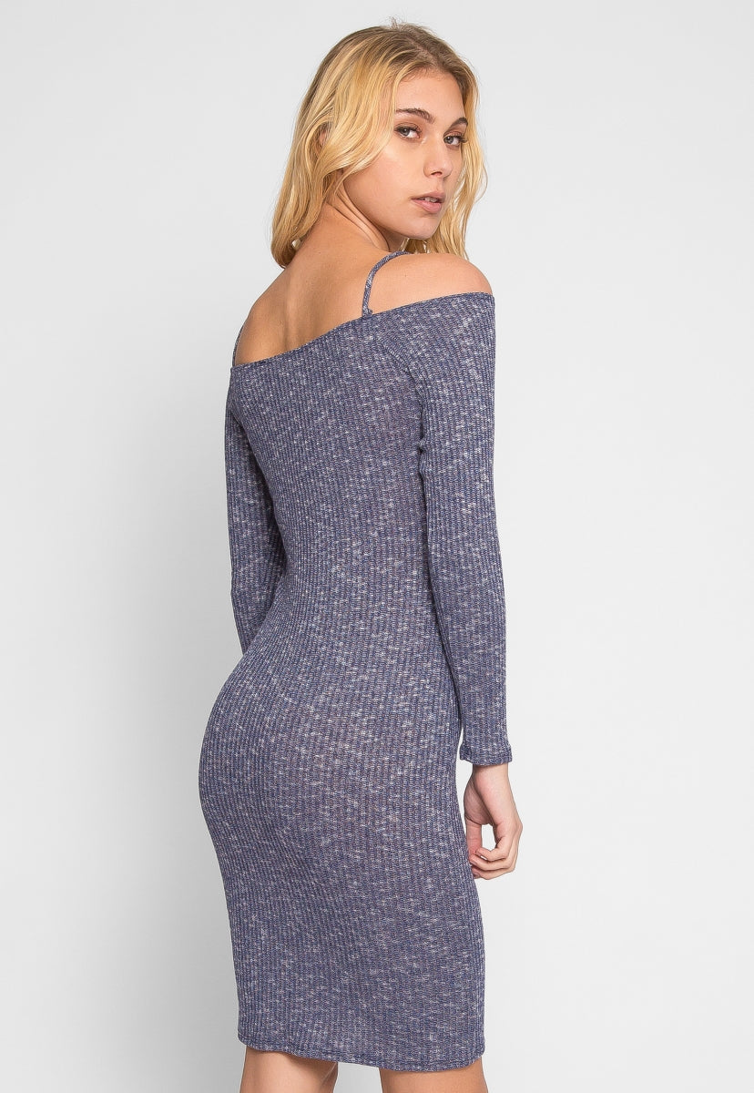 All Hope Marled Off Shoulder Dress in Navy - Dresses - Wetseal