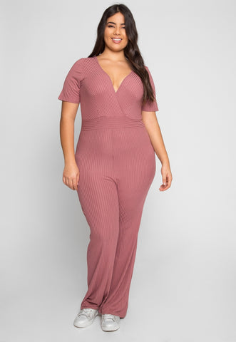 Plus Size Knit Jumpsuit in Pink