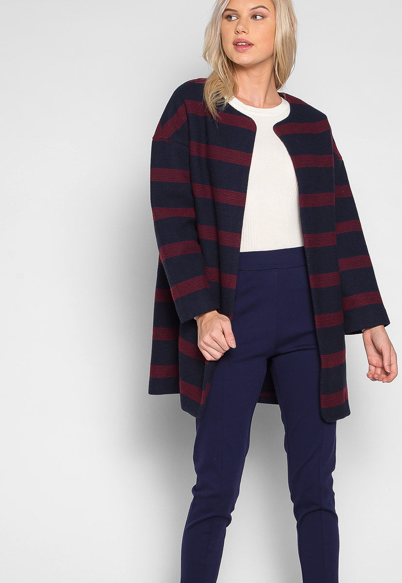 Cold Night Stripe Textured Coat - Jackets & Coats - Wetseal