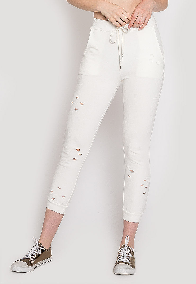 Pier Drawstring Distressed Joggers - Pants - Wetseal