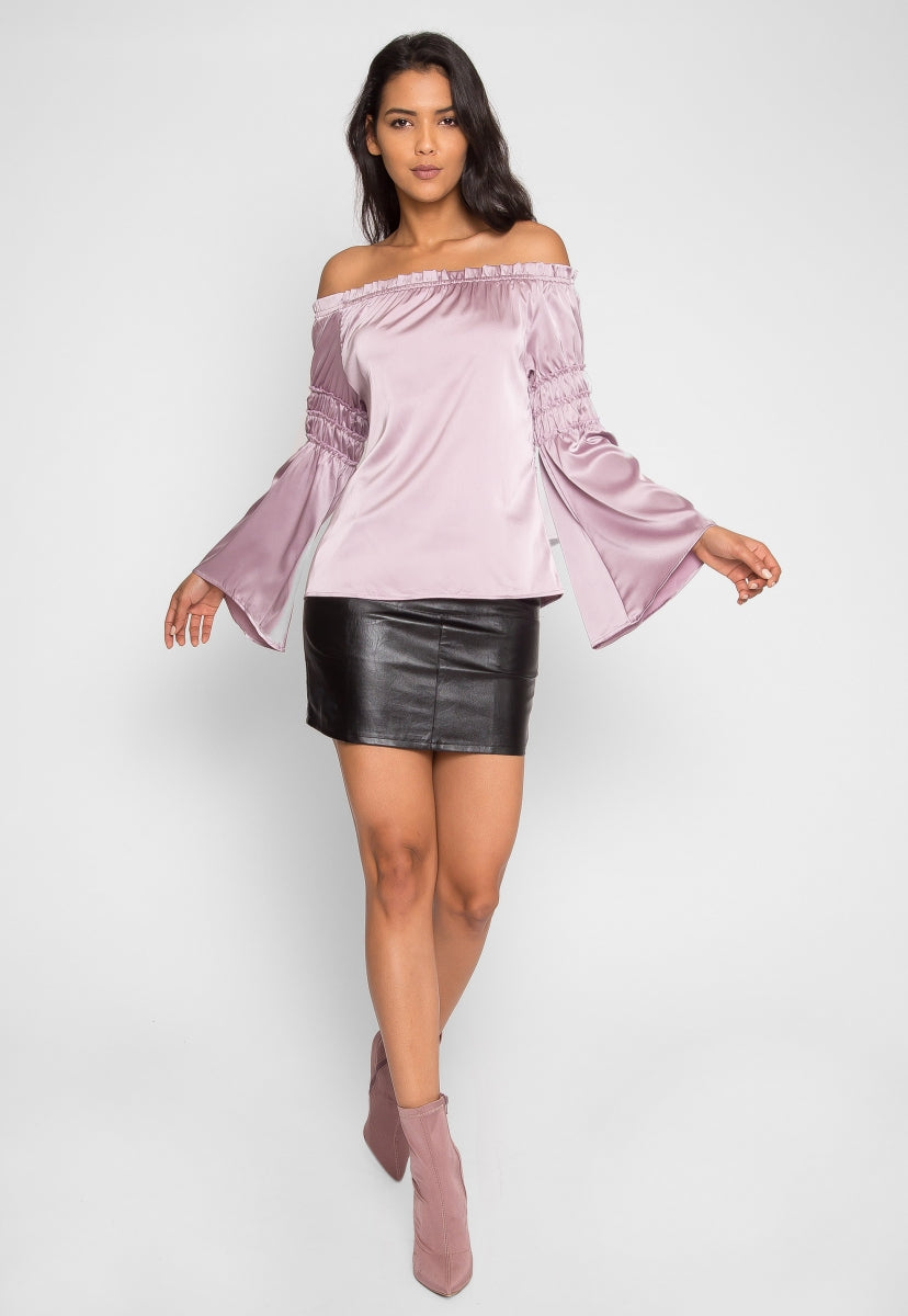 Long Sleeve Off Shoulder Satin Top in Lavender - Shirts & Blouses - Wetseal