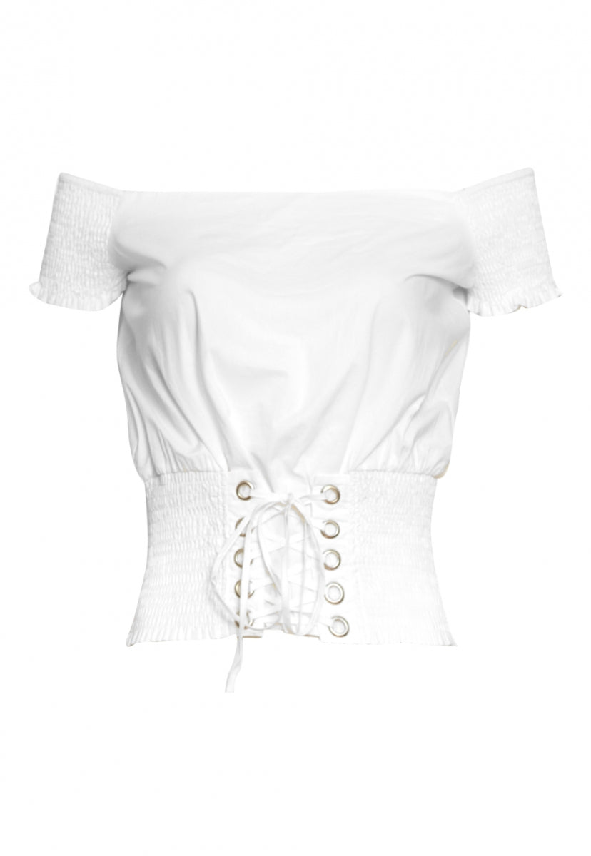 Hard Kick Off Shoulder Top in White - Shirts & Blouses - Wetseal