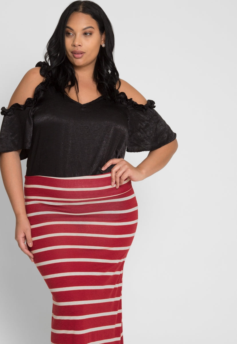 Plus Size Magical Night Stripe Maxi Skirt - Plus Bottoms - Wetseal