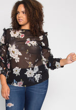 Plus Size Besties Floral Cold Shoulder Top