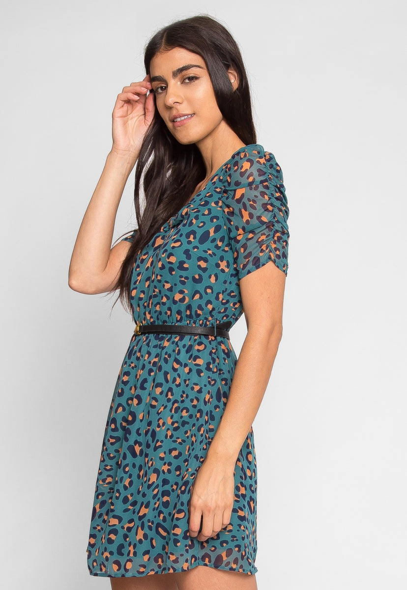 Emerald Leopard Print Dress - Dresses - Wetseal