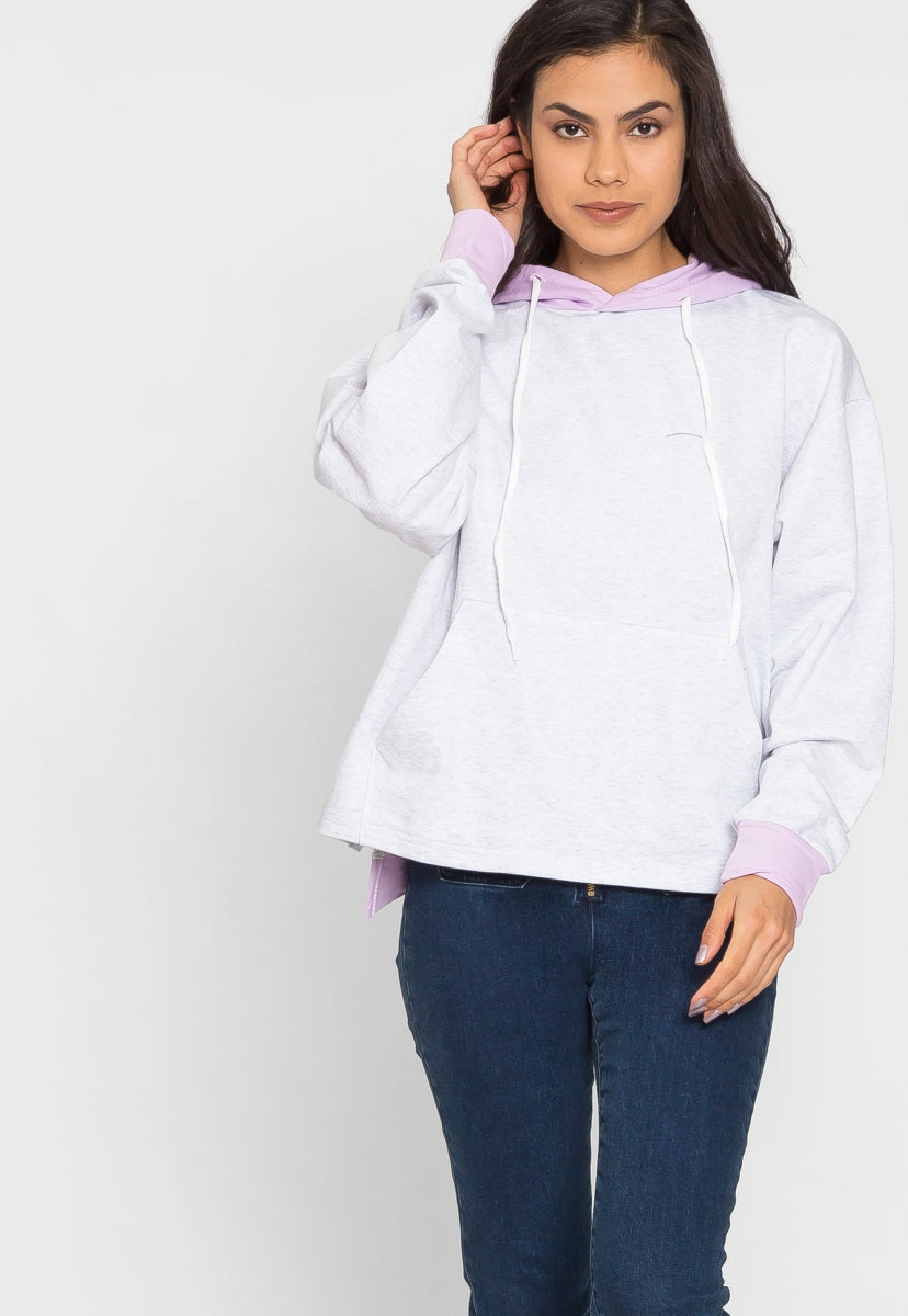 Sunny Day Colorblock Hoodie in Gray - Sweaters & Sweatshirts - Wetseal