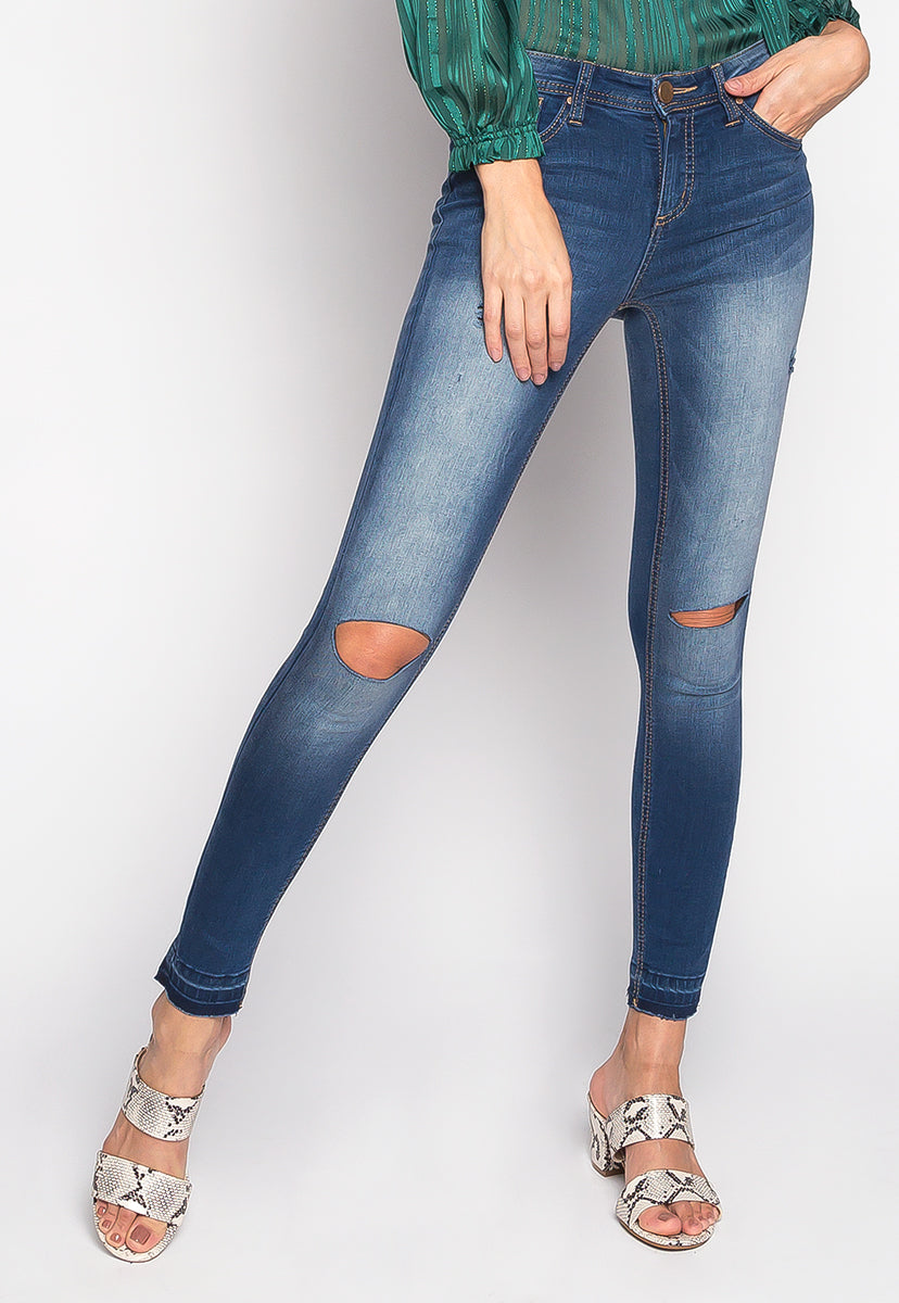 Music Festival Washed Out Skinny Jeans in Navy - Jeans - Wetseal