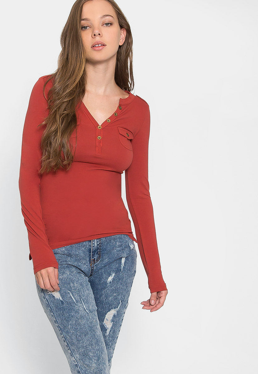 Casual Day Henley Top in Copper - Shirts & Blouses - Wetseal