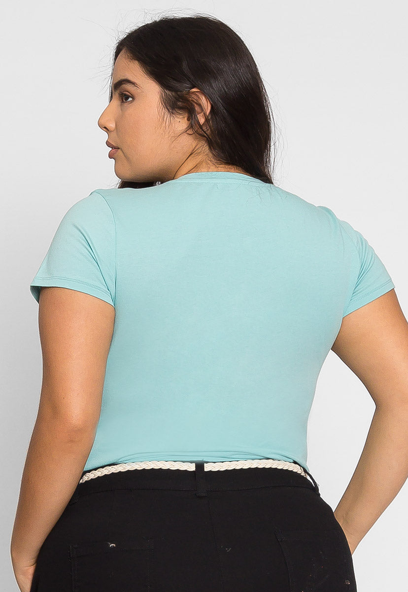 Plus Size Ivy V-Neck Tee in Mint - Plus Tops - Wetseal